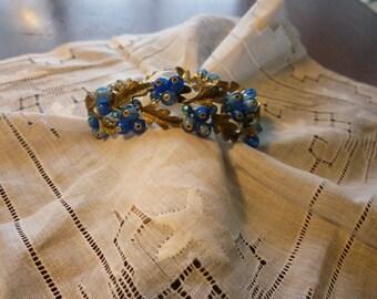 Vintage BSK Blue Beads & Rhinestone Bracelet