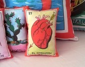 Corazon (heart) Mexican Loteria Mini Pillow with Lavender - Dia De Los Muertos / Day of the Dead, Party Favor