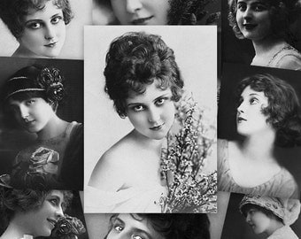 Vintage Women ATC ACEO cards Digital Collage Sheet for Scrapbooking Altered Art Victorian Style / AC42