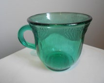 Vintage Single 'Fortecrisa' Forest GREEN GLASS Coffee Tea Cup - Made in Mexico - Drinking Glass Mug