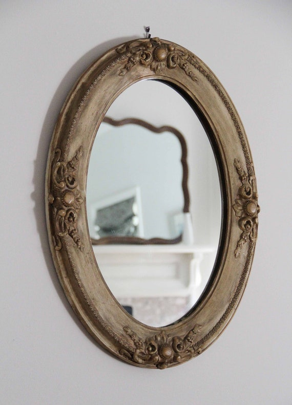 Antique Oval Wall Mirror With Carved Wooden Frame