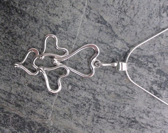 Sterling Silver Four Heart Necklace