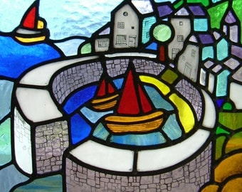 Stained glass panel of Mousehole in Cornwall