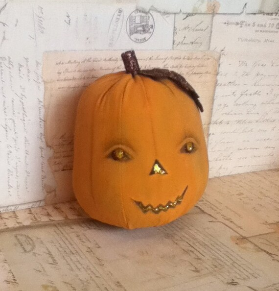 "Folk Art Halloween Jack-o-Lantern Doll ""Creepy Sally"""