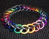 """Chainmaille Bracelet - Standard 7"""" Size, Rainbow Multi-Color Aluminum with Black Latex-Free Rubber Rings"""