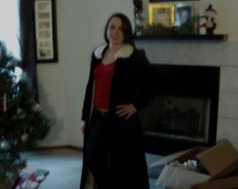 steampunk black velvet opera coat