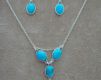 Turquoise 4 drop Necklace & Earrings Set