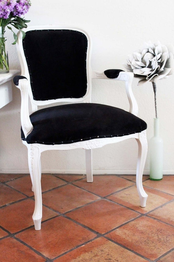 Accent Chair Black White French Side Chair