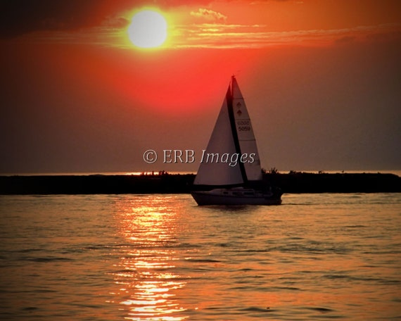 "Sail Boat Fine Art Print - ""Returning Home"" - Home Decor"