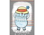 Personalised nursery art. Big hat bear, illustration