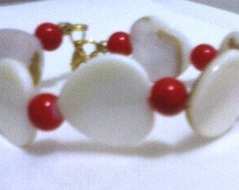 Mother of Pearl Heart & Cherry Red Bracelet