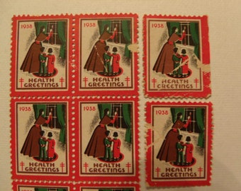 1938 American Lung Association Vintage Christmas Seal Stamps