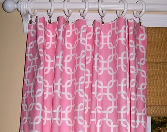 "PINK LATTICE CURTAINS White Background Premier Collection Two Drapery Panels 24"" or 50"" Geometric Drapes"
