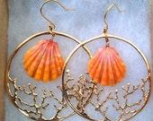 Custom Coral Hoop Sunrise Shell Earrings SALE
