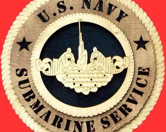 "U.S. Navy Submarine Service Wood Wall Hanging Plaque - Measures 11 1/2"" - Can be personalized with name and choice of background colors"
