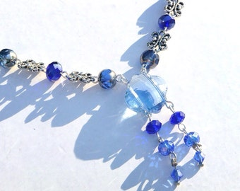 Venice Jewel Sapphire Cobalt Blue and Periwinkle Crystal, Swarovski and Silver Plated Chain Necklace