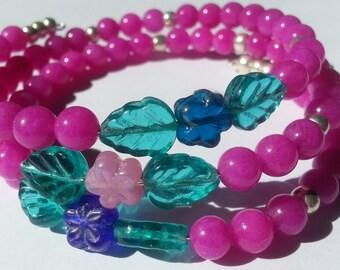 Shimmery Pink Beads w/Flowers Wrap Bracelet