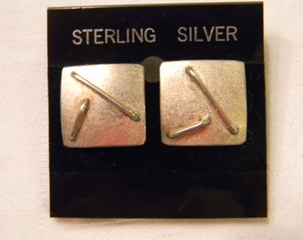 "Timeless & Classic Pattern Sterling Silver 925 Squares Post Earrings .75"" Long #1826"