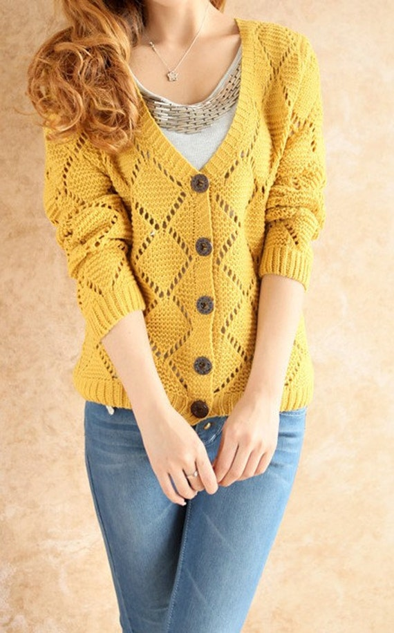 Yellow / Blue Knitting V collar twill cardigan---women cardigan--SW011