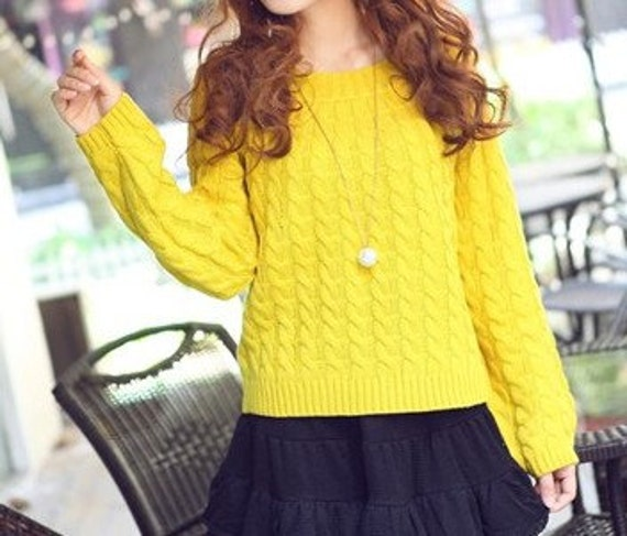 Yellow sweater round collar with long sleeve sweater  women sweater Autumn Spring Winter--SW029