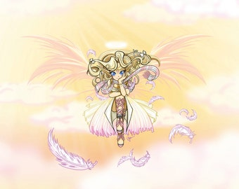 Anime Art: Fantasy style Guardian Angel among sunshine and clouds by Valerie Ryan