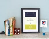 """Book Clubs: """"Spurs"""" A4 Football Print in blue, white and yellow."""