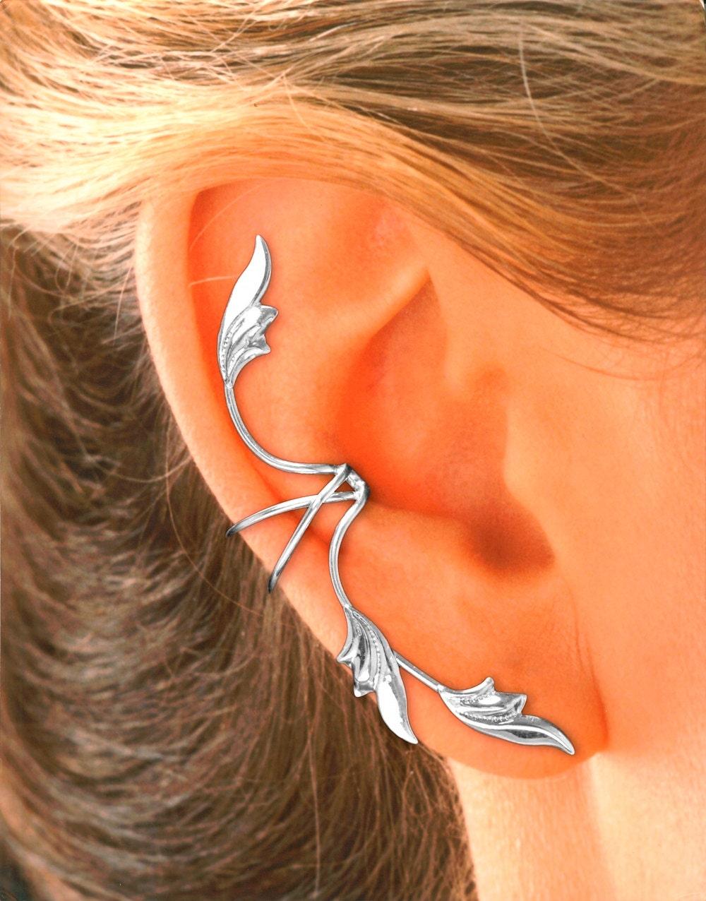 full ear 3 leaf non pierced ear cuff in sterling silver or. Black Bedroom Furniture Sets. Home Design Ideas