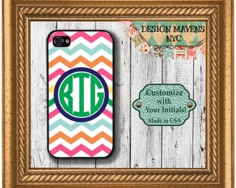Preppy Colorful iPhone Case, Monogrammed iPhone Case, Personalized Phone Case, Fits iPhone 4, 4s, iPhone 5, 5s, 5c, iPhone 6, Phone Case