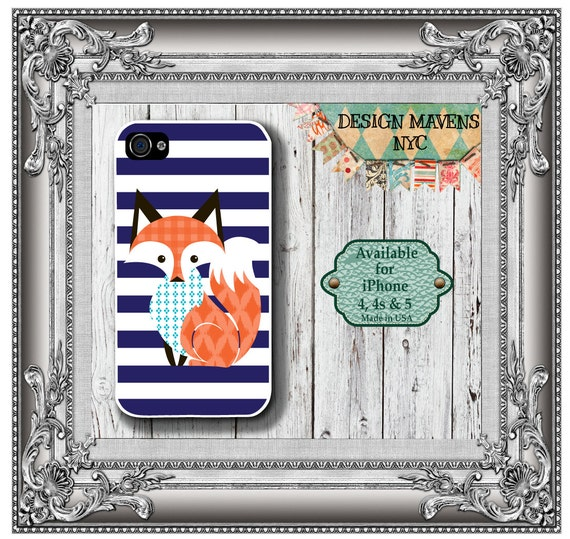 Preppy Fox iPhone Case, Hard Plastic iPhone Case, Fits iPhone 4, iPhone 4s & iPhone 5, Phone Cover, Phone Case