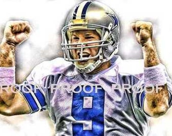 Rare Tony Romo Dallas Cowboys Art Print sn only 50