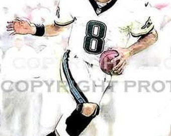 New Mark Brunell Jaguars Art Illus Print 12x18 LE of 50