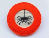 Embroidery brooch cross stitch spider - Orange felt brooch