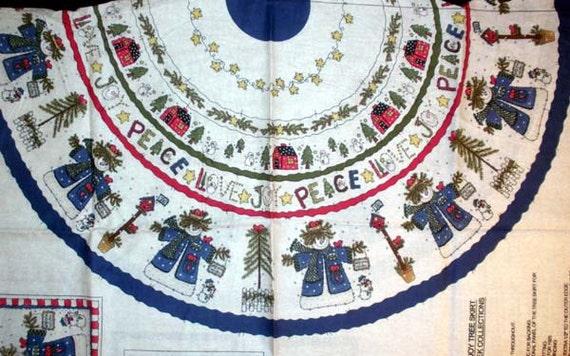 Christmas Tree Skirt Fabric Panel By Linda Stubbs Snow People