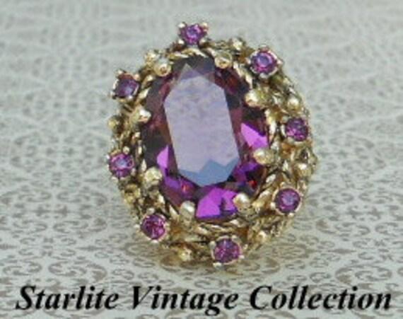 Amethyst Crystal Ornate Gold Tone Vintage Ring - Signed Park Lane