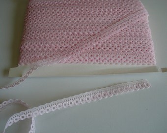 Narrow pink lace trim