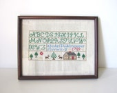 Vintage Children's Wall Hanging // Needlepoint Alphabet Decor