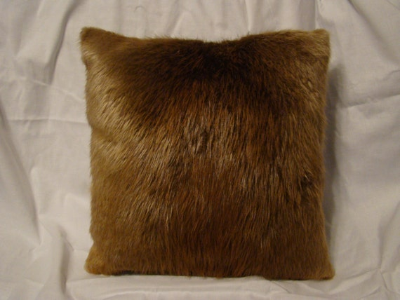 Items similar to 18 HAND PAINTED Bear Faux Fur Throw Pillow Rich Brown Bear Skin Hide Shaggy ...