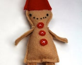 Gingerbread Boy Felt Ornament in Spice