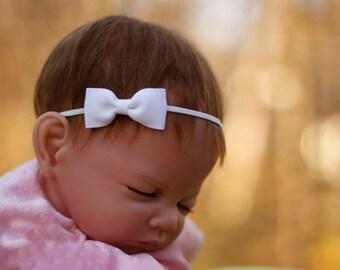 White bow baby girl headband, baby headband, newborn headband, infant headband, bow headband, infant head band