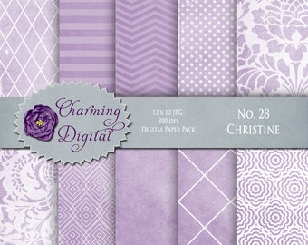 Lavender Purple Digital Paper, Lavender Purple Scrapbooking Digital Paper, No. 28 Christine