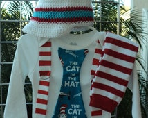 Custom Boutique  Dr Suess Cat In The Hat Tie T Shirt With Suspenders, Leg Warmers