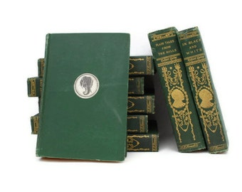Rudyard Kipling 8 Vintage Books 1899-1900 SALE Green, Gold