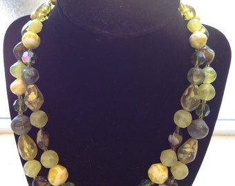 VINTAGE CIRCA 1950 Two Strand West Germany Lucite Iridescent Green Beaded Necklace and Clip Earring Set