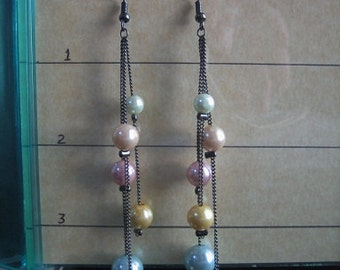 Faux Pearls and Chain Earrings
