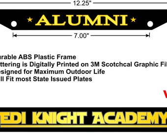 star wars jedi knight academy alumni license plate frame