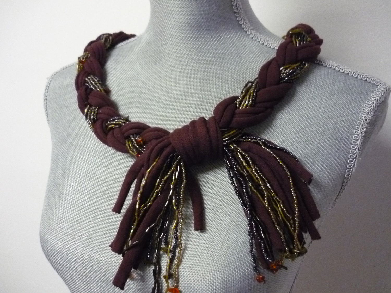 braided beaded scarf necklace burgundy by marielamode on