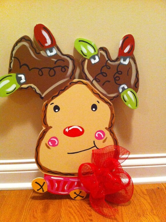 Items Similar To Rudolph Reindeer Door Hanger Wooden