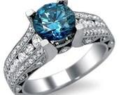 2.44ct Blue Round Diamond Engagement Ring 14k White Gold