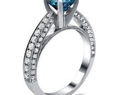 1.91ct Blue Round Diamond Engagement Ring 18k White Gold Antique Style