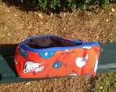 Zippered Makeup Bag Flat Bottom Cat in the Hat Fish